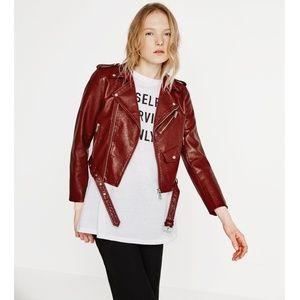 ZARA Burgundy Faux Leather Crop Moto Zip Jacket